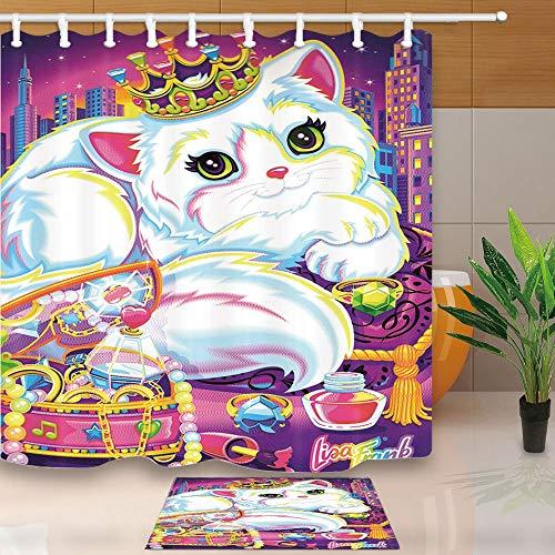 EdCott Cartoon Tier Duschvorhang Film Star Katze Krone Parfüm Schmuck 71X71in Mehltau Resistant Duschvorhang Set Mit 15,7x23,6 in Flanell Rutschfeste Boden Fußmatte Badteppiche - Duschvorhang-sets Meer