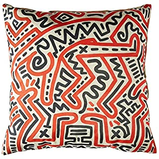 aobo Modern Keith Haring Creative Abstract Curve Painting Sofa Simple Home Decor Design Throw Pillow Case Decor Cushion Covers Square 18 * 18 Inch Beige Cotton Blend Linen