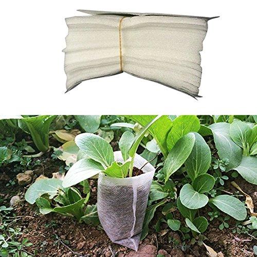Woopower semis Sacs de chambre d'enfant, 100 pcs/lot de tissu non tissé biodégradables Pots semis Raising Sacs Jardin Fournitures, 8 x 10,1 cm/14 x 16 cm/20,1 x 22,1 cm 14*16cm/5.5''* 6.3'' blanc