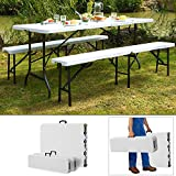 Deuba - 990010 - Ensemble Table bancs 3 pièces camping pliable 180cm - table buffet banc jardin - Blanc