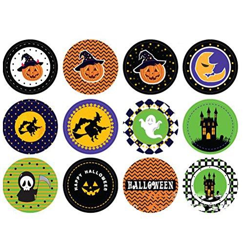 Healifty Halloween Bastelsticker Totenkopf Kürbis Candy Sticker zur Dekoration 28St