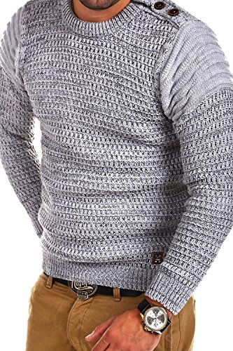 Carisma Strickpullover mit Knöpfen Pullover 7270 Grau