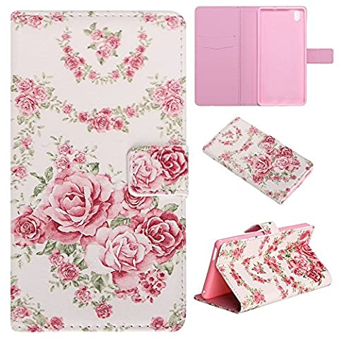CaseHome Sony Xperia M4 Aqua Wallet Case [With Free Screen Protector],Unique Colorful Embossed Pattern Design Folio Flip Magnetic Closure Stand Feature with Card Slots and Cash Holder Soft Durable Rubber Bumper PU Leather Protective Wallet Cover Skin Shell For Apple Sony Xperia M4 Aqua-Pink Rose Flowers