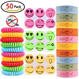 GeMoor 50Pack PREMIUM Mosquito Repellent Bracelets, Insect Deet Repellent Sticker Patch with Repellent Wristband - Super Effective 250 Hours Protection for Kids Adults Travel Indoor Protection