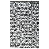 Alfombra tejida plana contemporáneo Canvas gris y Creme 120x 170cm