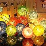 palla di Natale luci di stringa, luci albero lampada a sfera in cotone di lanterna, 3m lunghe LED luci a forma di arco festa di nozze, patio, outdoor, rattan, decorazione d'uva (multicolore Pallina)