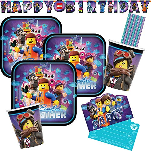 Amscan/Hobbyfun 33-teiliges Party-Set Lego Movie 2 - Teller Becher Einladungskarten Girlande Papiertrinkhalme für 8 Kinder