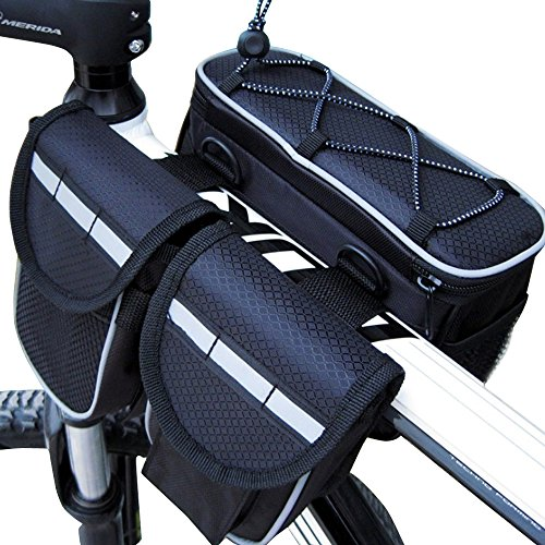 maiyu Fahrrad 4in 1Multifunktions-Front-Rahmen Top Tube Fahrradtasche Bike Satteltasche mit regensicheren Deckel für Bergsteigen Reisen Reiten