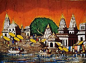 Ganga Ghat at Varanasi - Batik Painting On Cotton
