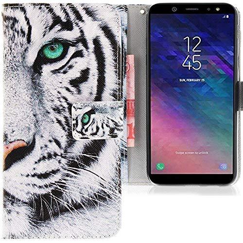 CLM-Tech kompatibel mit Samsung Galaxy A6 2018 Hülle, Tasche aus Kunstleder Tiger weiß schwarz, PU Leder-Tasche für Samsung Galaxy A6 2018 Lederhülle -