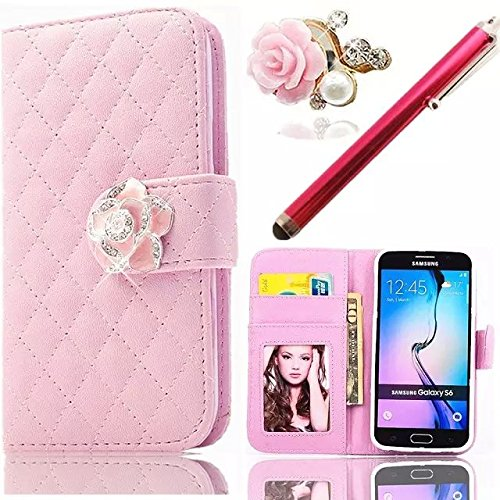 PU Coque pour iPhone 6 Plus Cuir Case 3D Perle Diamant Strass Paillettes Couverture PU Leather Wallet Luxe Brillant Glitter Shining Bling Bling Étui Flip Cover Bookstyle Case avec Support et Cartes Sl ZY-Rose