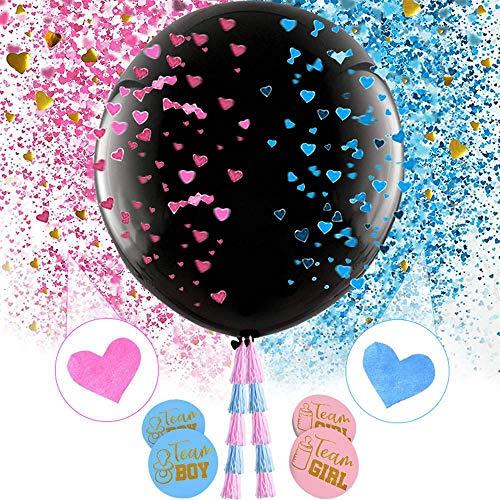 Ceepko Große 36 Zoll Baby Geschlecht Offenbaren Ballons, Junge Oder Mädchen Ballons Kit Blau Rosa Konfetti Dekoration Dusche Kinder Party Kuchen, Black Letter Printing Latex Ballon