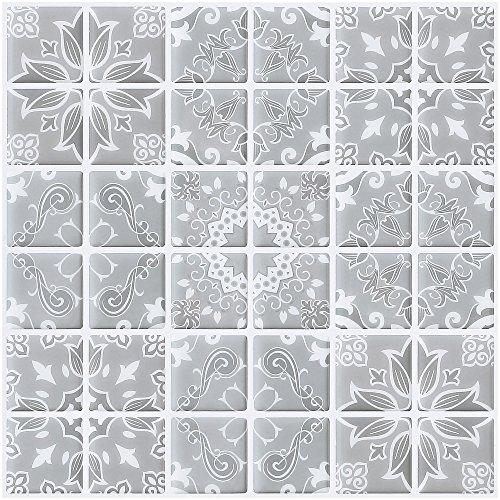 Ecoart Decorativos Adhesivos para Azulejos Pegatina de Pared, Azulejos de Gel, Diseño de Azulejo Vintage, Efecto 3D, Cenefa Autoadhesivo, para Baño y Cocina(Blanco y Gris)