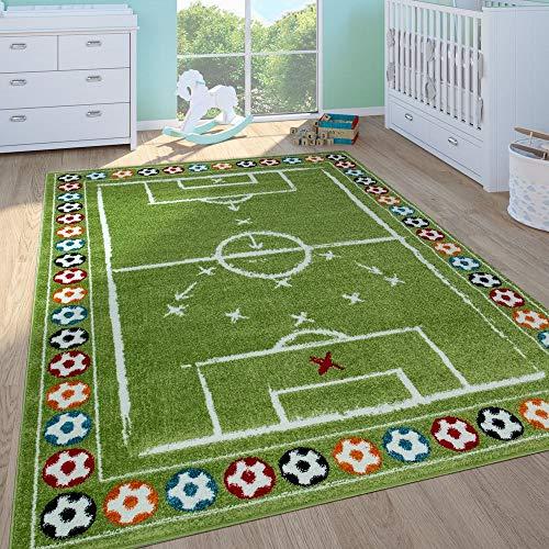 Tappeto per bambini maschietti stanza dei bambini tappeto da gioco a pelo corto campo da calcio in verde, dimensione:160x220 cm