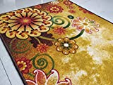 BuyElegant, tappeto antiscivolo a tema arte, realizzato in 100% poliestere e con retro in lattice ecologico, lavabile., Poliestere, Morning Bloom (Brown), 120 cms x 80 cms