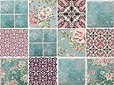 Dekorative Stickerfliesen mit tollen Motiven und Ornamenten für Wände und Fliesen | 12 teiliges Set | seidenmatt