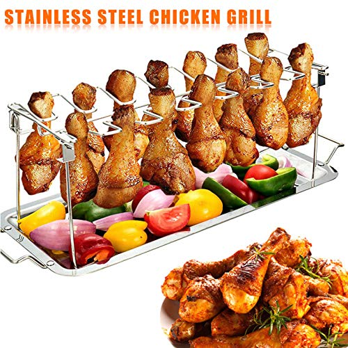 Guajave Stainless Steel Chicken Wing Leg Rack Grill Holder with Drip Pan for Cooking BBQ