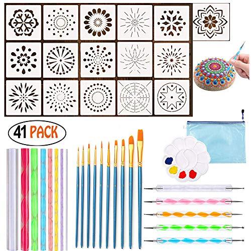 41 Stück Mandala Rock Dotting Tools verschiedene Größen Kunst Malwerkzeuge Set mit Mandala Schablonen und Malpalette Mandala Kunst, Aufbewahrungstaschen für Rock Painting, Kids Craft, Nail Art -