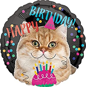 amscan 3539801 Happy Birthday - Globo, diseño de Gato