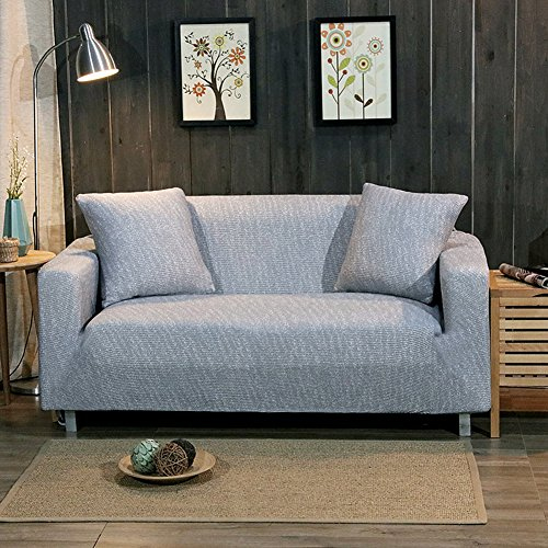 Hm&dx maglia elastico copertura divano 1-pezzo,surefit fodera per divano copridivano copertine antiscivolo antimacchia copertura completa mobili coperture per il salone -grigio chiaro posti di amore