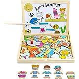 yoptote Lavagna Magnetica Giochi Montessori in Legno per Bambini 2 3 4 5 Anni Puzzle Magnetico Legno Giocattoli per Bambini 2
