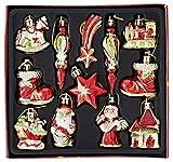 Heitmann Deco Weihnachtsbaum-Schmuck - Behang-Set aus Kunststoff - 12-teilig - rot/gold - Christbaum-Anhänger