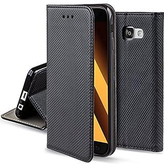 Moozy Hülle Flip Case für Samsung A3 2017, Schwarz - Dünne magnetische Klapphülle Handyhülle mit Standfunktion