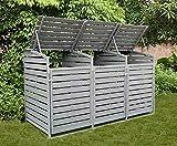 Sue Ryder Triple Wooden Wheelie Bin Store Storage Grey Garden Cover Recycling Outdoor Lifting Lids lockable