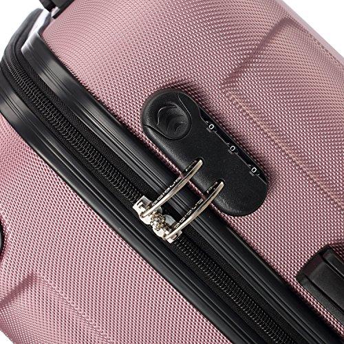 2045 Hartschale Koffer Trolley Reisekoffer einzelgröße XL-L-M in 10 Farben (M, Pink) - 2