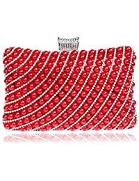 9312af26b1fe5 Aszhdfihas Damen Pearl Dinner Paket Hand Schulter Schulter Diagonal Clutch  (Farbe   Rot)