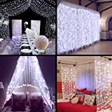 Ollny Led Curtain Window Icicle Decorative Lights Fairy String Lights for Wedding Christmas Party Backdrops Home Outdoor Decorations 9.8ft x 9.8ft 300 LEDs 8 modes Cool White