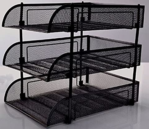 Executive Mesh Filing Front Loading Trays Document Letter Paper Wire Mesh Storage 3 Tiers (Black)