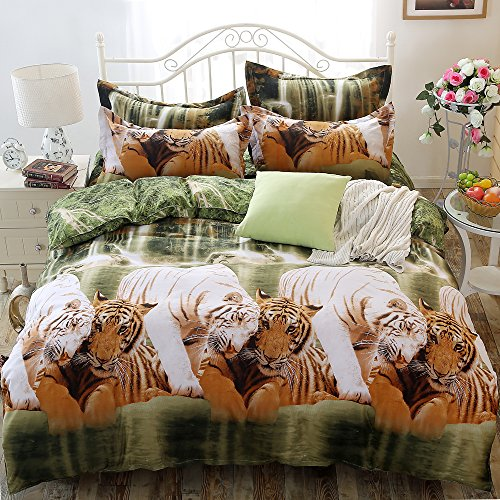 tinghan 3D Tiger Bettwäsche-Set bedruckte Bettwäsche Tröster Shell (keine Tröster) Bettbezug für Doppelbett Größe 4Piece (Set Tiger Tröster)