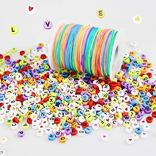 LEBENSWERT 1200 Stück Buchstaben Herz Perlen mit 100m Elastische Schnur 1mm Regenbogen Perlenschnur DIY Handwerk Beading Cord String Perlen zum Auffädeln Kinder Gummiband für Armbänder Haarband (Der Handwerk-perlen Masse In)