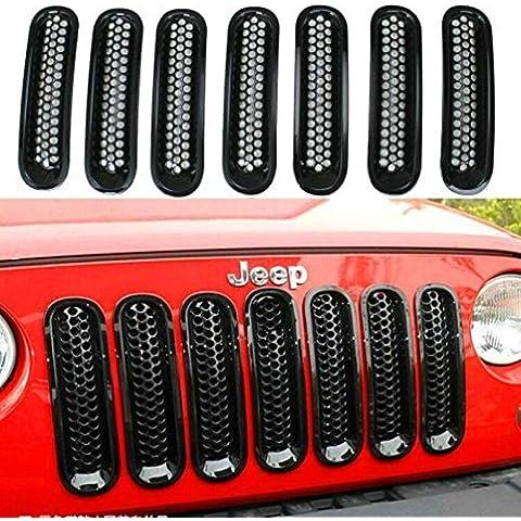 Racksoy–7stk Negro Coche Grille frontal parrilla Grille frontal de red barbacoas para Jeep Wrangler Rubicon Sahara JK 2007–2015