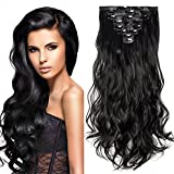 "24"" Extension a Clip 8 Bandes Ondulé - Extensions Cheveux Clips - Clip in Hair Extensions - 60cm(24 pouces) - Noir"