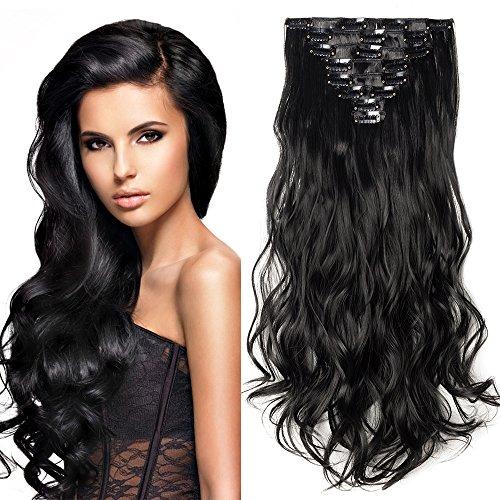 Hair extension capelli clip in estensioni 8 fasce full head 42cm capelli lunghi mossi ricci, nero