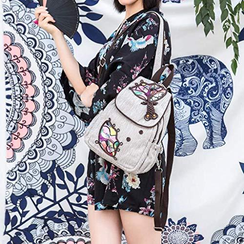 GBXR Art und Weisefrauen Baumwolle Leinen Art National Wind Umhängetasche Brusttasche Dual-Use-Paket Travel Light Bag Wind Paket