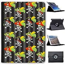 "Manie Pirate avec trésor & perroquet Case Cover/Folio en simili cuir pour le Apple iPad iPad 9.7"" 5th Generation (2017) Totenköpfe mit Kapitänshut"