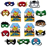 Colorful Superhero Masks Eye Masks (Material Cloth Felt) + 12 Pcs Thank You Tage Half Masks With Elastic For Kids Party Masquerade Birthday Party Decoration | Kindergarden | Fancy Dress Shop | Baby Show Event | Superhero Eye Mask | B'day Party Favours | R