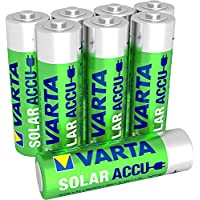 Varta SOLAR Mignon NiMh Akku (AA, 800 mAh, 8er Pack, wiederaufladbar ohne Memory-Effekt - sofort einsatzbereit)