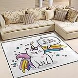 Use7 I am Unicorn Katzen-/K?tzchen-/Stern-Teppich, Regenbogen-Teppich, f¨¹r Wohnzimmer, Schlafzimmer, Textil, Mehrfarbig, 203cm x 147.3cm(7 x 5 feet)