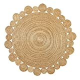 Green Decore Handgefertigte geflochtene runde Naturfaser Jute Teppich, Natur (150 cm Durchmesser, Artisan natürlich)