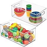 mDesign (lot de 2) bac rangement jouet – grande boîte de rangement plastique solide pour la chambre d'enfants – boîte avec co