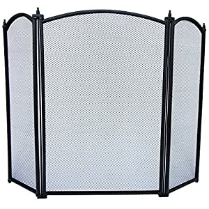 Home Discount Selby 3 Panel Fire Screen Spark Guard Black Kitchen Home