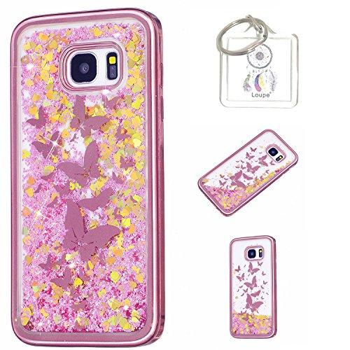 Hülle Galaxy S7 Edge Hülle Transparent Hardcase,3D Galvanotechnik TPU Kreative Liquid Bling Hülle Case Für Samsung Galaxy S7 Edge,Dynamisch Kristall Handytasche + Schlüsselanhänger (A) (2)