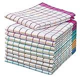 Home-Tex - Juego de 10 trapos de cocina   Trapo seco   Trapos multiusos y multicolores a cuadros, de 50 x 70 cm y 100% algodón   Öko-Tex Standard  