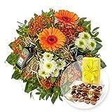 Blumenstrauß Männerfreude und Belgische Pralinen