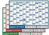 3 STÜCK - Schuljahres - Wandkalender 2017-2018 DIN A1 3-farbig (gerollt) - Wandplaner 2017-2018 mit Ferienübersicht für alle Bundesländer (Versand sehr günstig!)