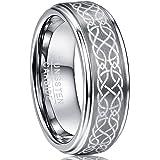 NUNCAD Anello Celtico in Argento Tungsteno Unisex Largo 8mm per Matrimoni Associazioni Anniversari e Occasioni Private Taglia
